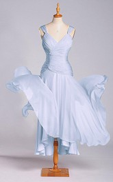 Stunning A-line Tea-length Dress with Dropping and Ruching