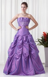 Strapless Pick-Up Buckle and Ball-Gown With Embroideries