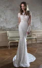 Modern Bateau Cap Sleeve Mermaid Wedding Dress Open Back With Lace Beadings
