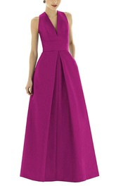 V-neck Satin Long Bridesmaid Dress with Pockets