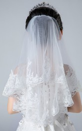 Lace Bottom Ruffled Sweet Tulle Flower Girl Veil with Comb