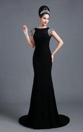 Elegant Jewel Cap Sleeve Black Prom Dress With Sequins Beadings