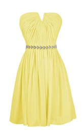 Strapless Notched Pleated Short Dress With Beaded Band