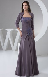 Strapless Sheath Chiffon Bolero and Dress With Lace