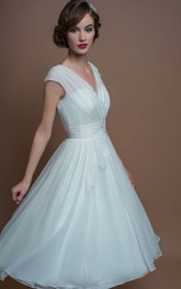 A-Line V-Neck Tea-Length Cap-Sleeve Appliqued Tulle Wedding Dress With Ruching