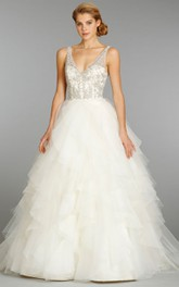 Shimmering V-Neck Organza Ruffle Dress With Beaded Embroidery