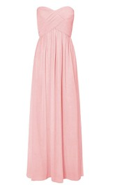 Long Strapless Sweetheart Criss-cross Chiffon A-line Dress