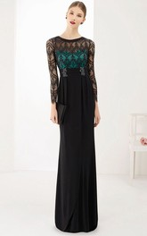 Scoop Neck Long Sleeve Sheath Chiffon Long Prom Dress With Lace Top