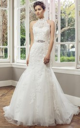 Mermaid Floor-Length Appliqued High Neck Sleeveless Lace&Tulle Wedding Dress With Waist Jewellery And Lace-Up Back