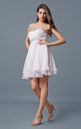 Impressive Sweetheart Short Chiffon Dress With Layers and Sequins