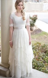 Modest Country Style Bohemian Garden Lace Tulle Scoop Neck Illusion Short Sleeves Wedding Dress