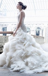 Chic Illusion Neckline Organza Flounce Ball Gown With Lace Bodice