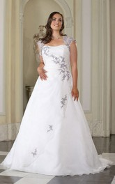 A-Line Floor-Length Queen Anne Satin Sweep Train Side Draping Dress