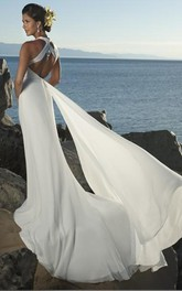 sheath Empire V-neck Chiffon Beach Wedding Dress