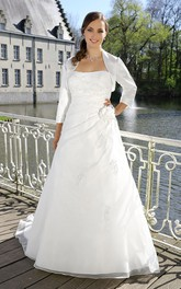 A-Line Floor-Length Strapless Long Sleeve Satin Cape Draping Flower Cape Dress
