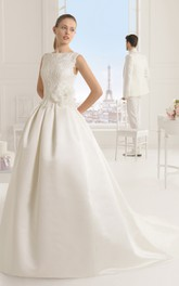 Sleeveless Satin Dress With Illusion Back And Appliques