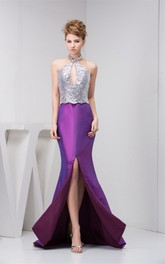 Sleeveless Front-Split Mermaid Keyhole and Dress With Sequins