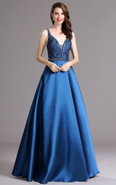 Ball Gown V-Neck Sleeveless Empire Satin Sequins Backless Dress