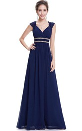 Cap-sleeved V-neck A-line Chiffon Dress with Sequins