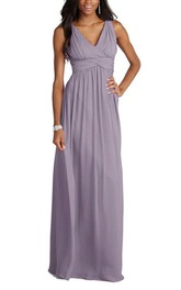 V-neck Empire Chiffon Long Dress