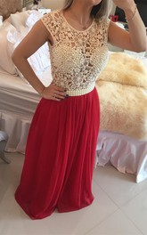 Gorgeous Red Pearls Lace Prom Dresses 2018 Long Chiffon