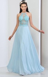 Halter Appliques Sequins Backless Prom Dress
