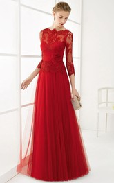 A-Line Long Appliqued 3-4-Sleeve Jewel-Neck Tulle Prom Dress With Flower