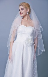 Beaded Trim Two Tier Mid Length Veil