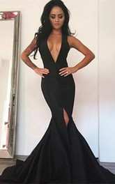Sexy Black Deep V-Neck Prom Dress 2018 Mermaid Front Split