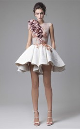Mordern A-Line Sleeveless Jewel Short Delicate Flowers Prom Dress