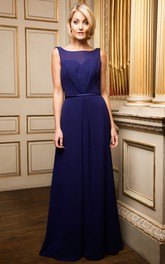 Bowed Sleeveless Bateau Neck Chiffon Bridesmaid Dress With Deep-V Back