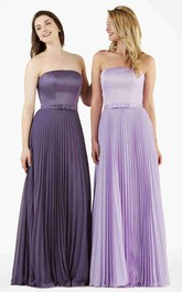 A-Line Floor-Length Pleated Strapless Chiffon Bridesmaid Dress With Sash