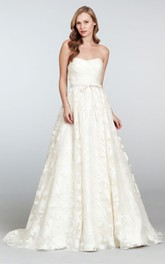 Classic Strapless Draped Bodice Organza Brocade Dress With Bow Detail
