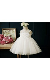 Illusion Neckline Sleeveless Pleated A-line Tulle Short Dress With Appliques