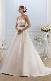 Ball Gown Long Strapless Sleeveless Satin Dress With Waist Jewellery