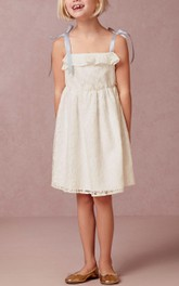 Flower Girl Tied Straps Empire A-line Lace Short Dress