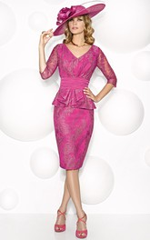 Knee-Length Sheath V-Neck Illusion Sleeve Satin Mother Of The Bride Dress With Appliques