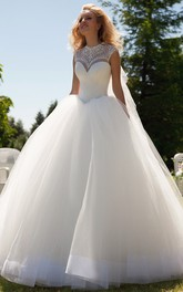 Long High Neck Beaded Cap-Sleeve Tulle Wedding Dress