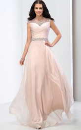 Cap Sleeves Pleats Sequins Long Prom Dress