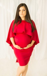 Sheath Bat 3/4 Length Sleeve Empire Maternity Dress