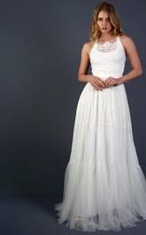 Sleeveless A-Line Tulle Dress With Lace Top and Back Straps