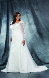 A-Line Floor-Length Bateau Neck Long Sleeve Lace Sweep Train Illusion Appliques Dress