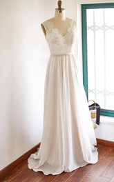 V-neck Sleeveless Chiffon Wedding Dress With Top And Sweep Train