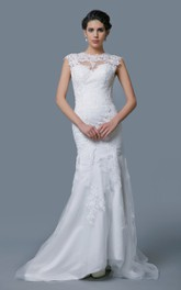 Cap-Sleeved Lace and Tulle Mermaid Dress With Keyhole Back