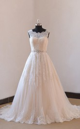 Lace A-Line Sleeveless Wedding Gown With Low-V Back and Beaded Sash