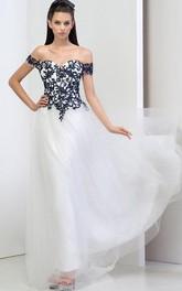 Off-The-Shoulder A-Line Appliques Evening Dress