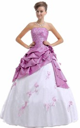 Strapless Ballgown With Ruffles and Beadings
