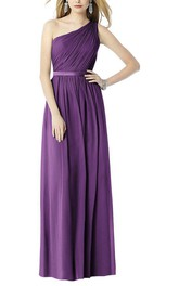 Ruched One Shoulder Chiffon Long Bridesmaid Dress