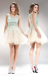 A-Line Mini V-Neck Sleeveless Tulle Lace Illusion Dress With Appliques