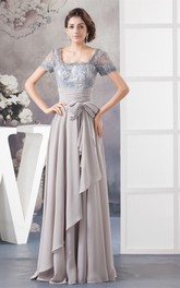 Chiffon Pleated Illusion Caped Sleeve and Gown With Bow
